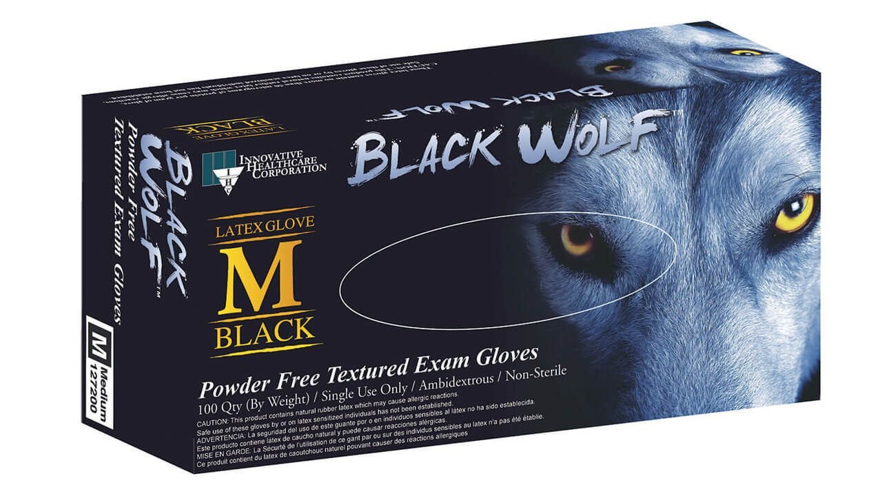 127 - BLACK WOLF™ Latex Exam Gloves - Innovative Healthcare Solutions