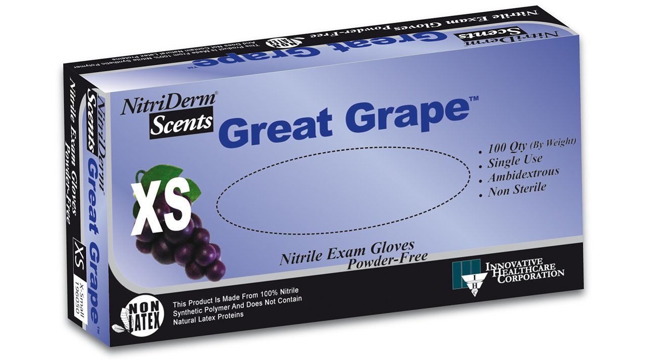 196 – NitriDerm® Scents Great Grape™ Nitrile Exam Gloves - Innovative Healthcare Solutions